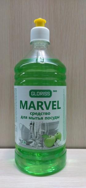 MARVEL эко средство для мытья посуды зеленое яблоко 1л